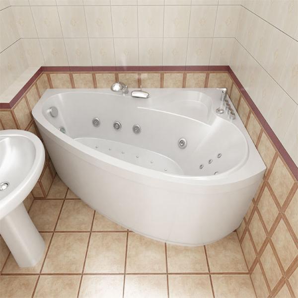 Удобная и комфортная ассиметричная акриловая ванна с гидромассажем