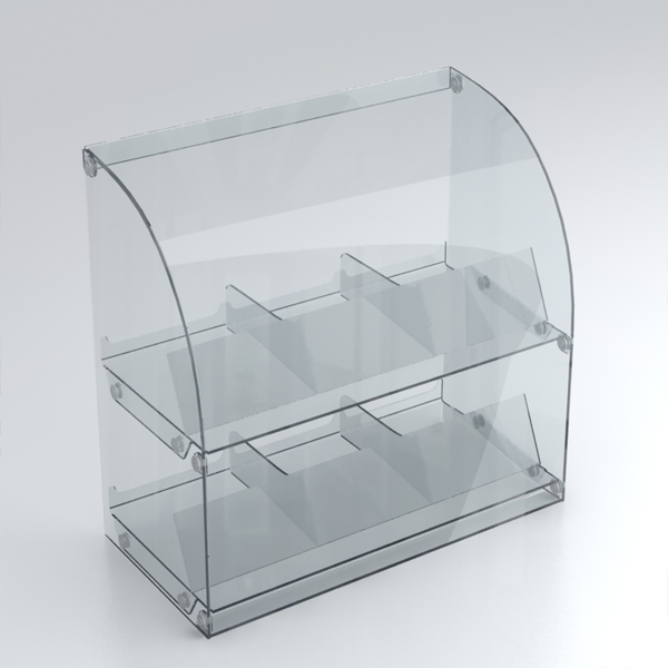 Прозрачная витрина из оргстекла для рекламы товара